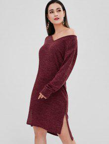 فستان هيثرو منخفض محبوك - نبيذ احمر S