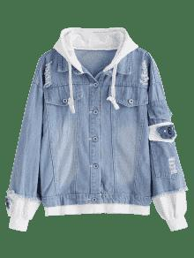 Hot 2019 Distressed Hooded Denim Jacket In Denim Blue M Zaful