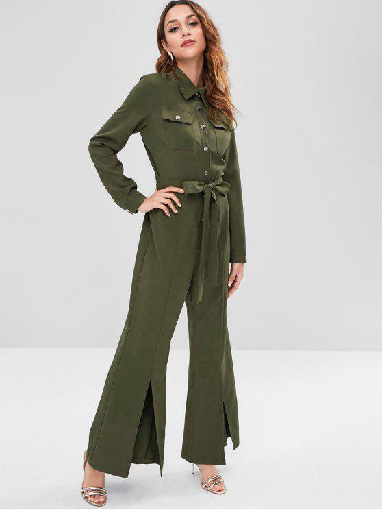 unique ZAFUL Long Sleeve Belted Shirt Jumpsuit - ARMY GREEN L