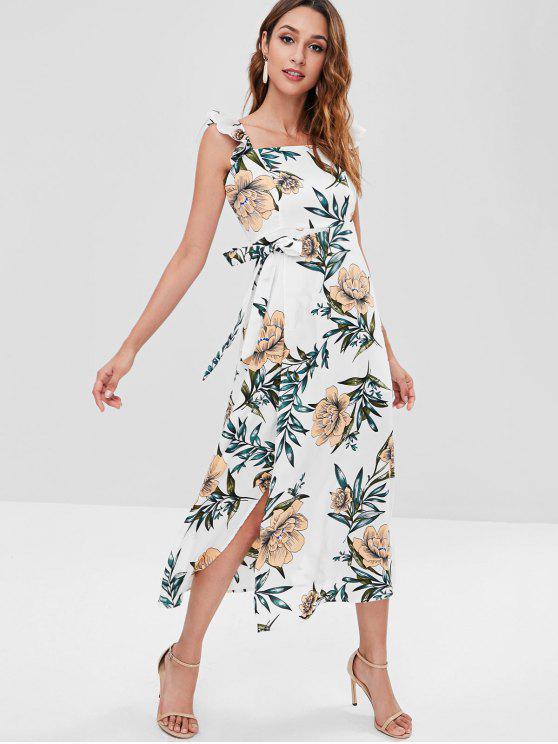 فستان بياقة مربعة بزهور مربعة - أبيض L