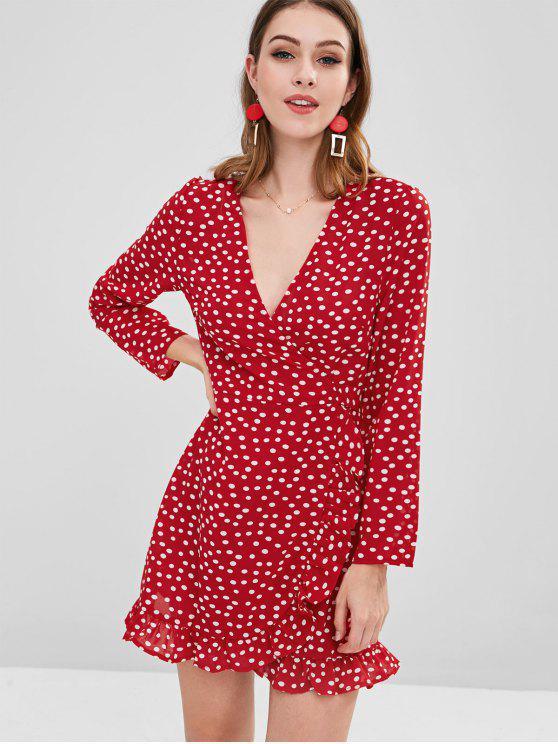 فستان بنمط كشكش - أحمر S