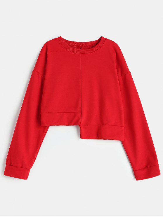 Sweat-shirt Asymétrique en Couleur Unie - Rouge Taille Unique