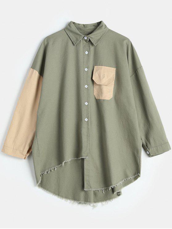 latest Boyfriend Style Asymmetry Tassels Hem Shirt - SAGE GREEN ONE SIZE