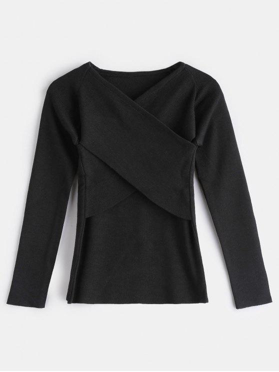 buy Surplice V Neck Slim Sweater - BLACK ONE SIZE