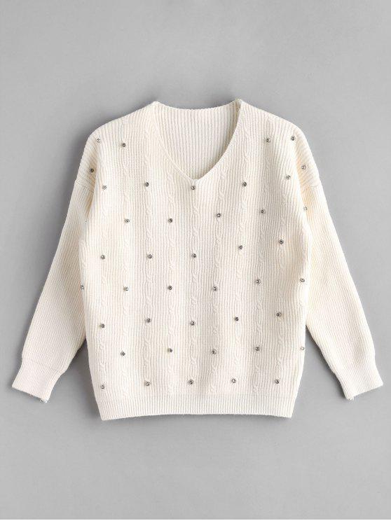 lady V Neck Rhinestone Knitted Sweater - WARM WHITE ONE SIZE