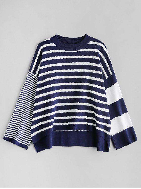 shops Crew Neck Stripe Sweater - BLUE ONE SIZE