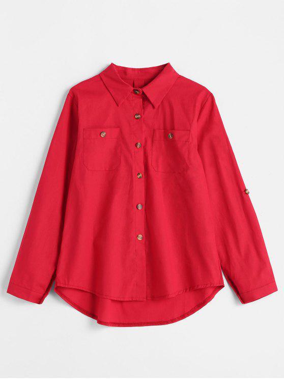 women's Roll Tab Sleeve Shirt - RED XL