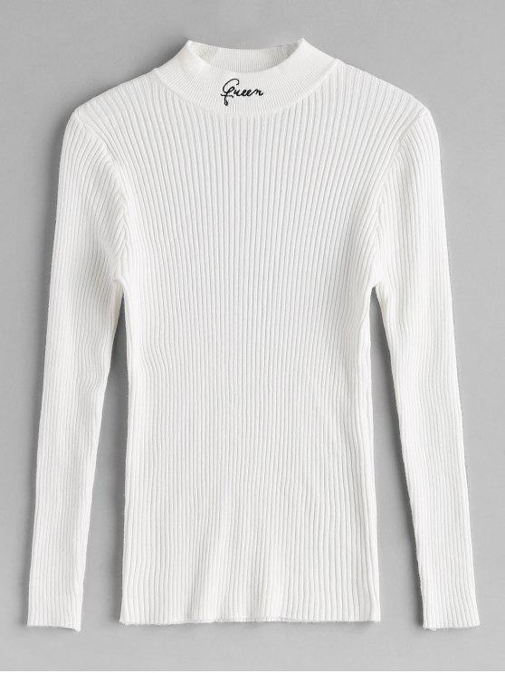 shop High Neck Ribbed Slim Sweater - WHITE ONE SIZE
