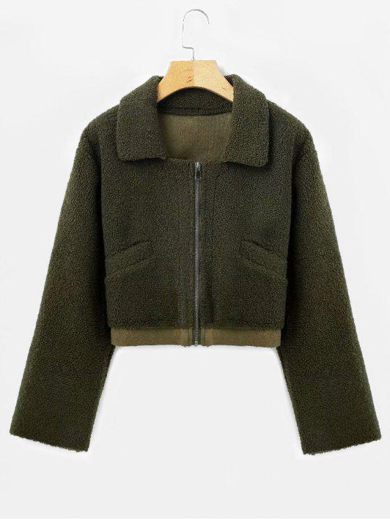 new Suede Lining Faux Shearling Jacket - ARMY GREEN S