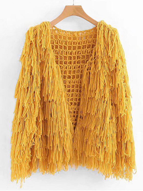 shops Fringe Open Knit Chunky Cardigan - SUN YELLOW ONE SIZE