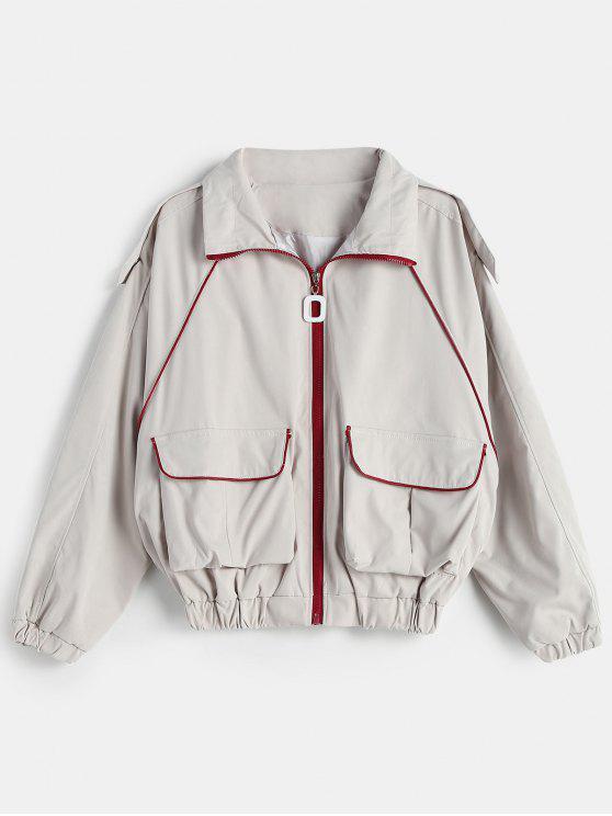 women Raglan Sleeve Drawstring Jacket - PLATINUM ONE SIZE