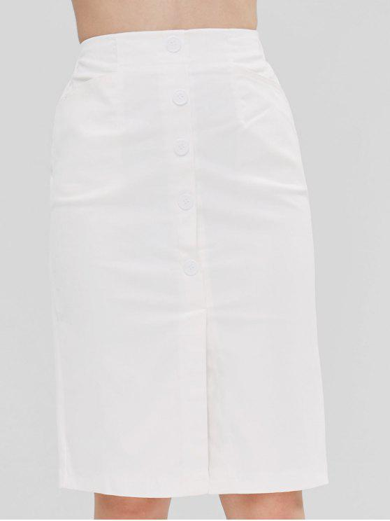 shops High Waist Buttoned Pencil Skirt - WHITE L
