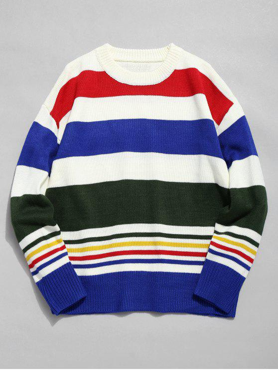 fancy Multi Stripe Crew Neck Knit Sweater - WHITE S