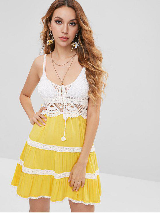 best Crochet Panel Cami Beach Dress - SUN YELLOW L