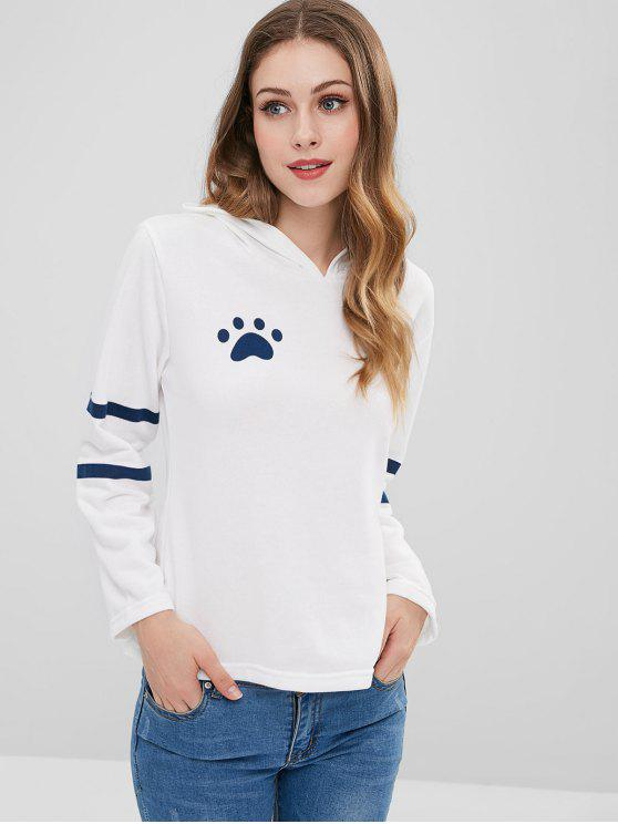 lady Footprint Cat Stripes Panel Hoodie - WHITE M