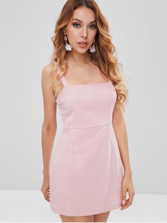 shop Plain Smocked Mini Dress - LIGHT PINK S