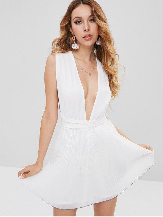 buy Self Tie Pleated Chiffon Plunge Sundress - WHITE XL