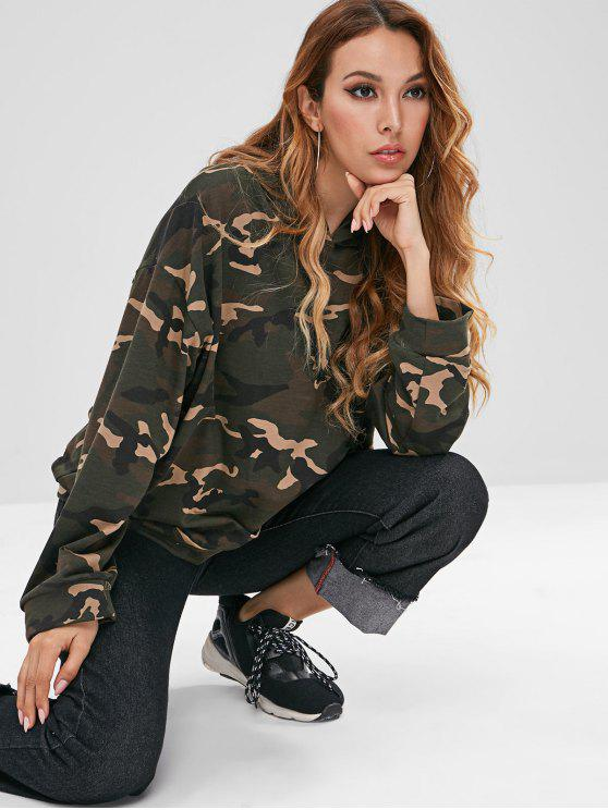 unique Drawstring Oversized Camouflage Hoodie - ARMY GREEN ONE SIZE