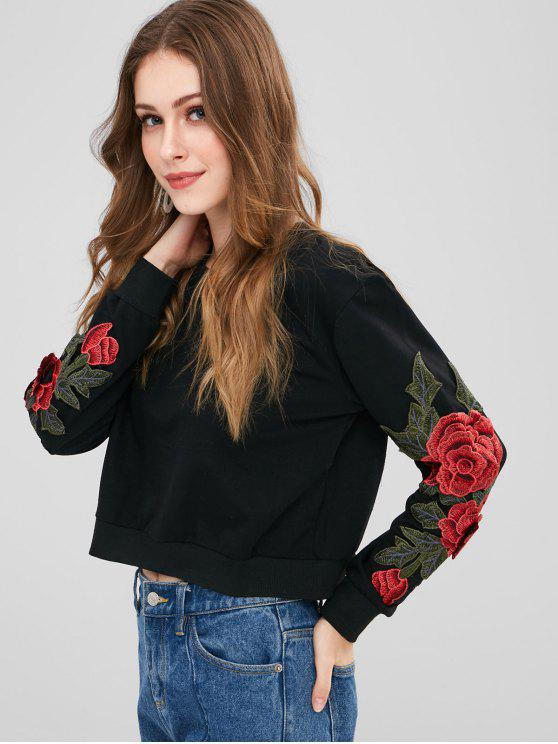 outfit Floral Patched Crop Sweatshirt - BLACK S