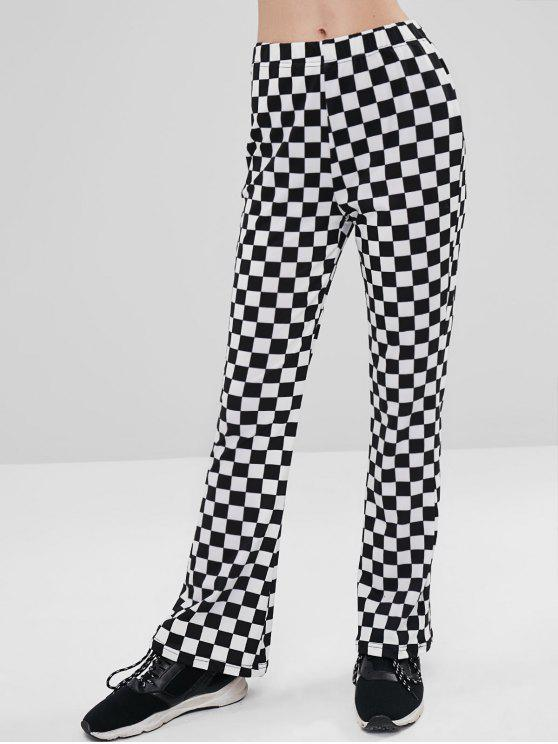 hot ZAFUL Checkered Boot Cut Pants - BLACK M