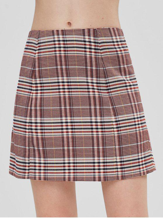 unique ZAFUL Plaid Mini A Line Skirt - MULTI L