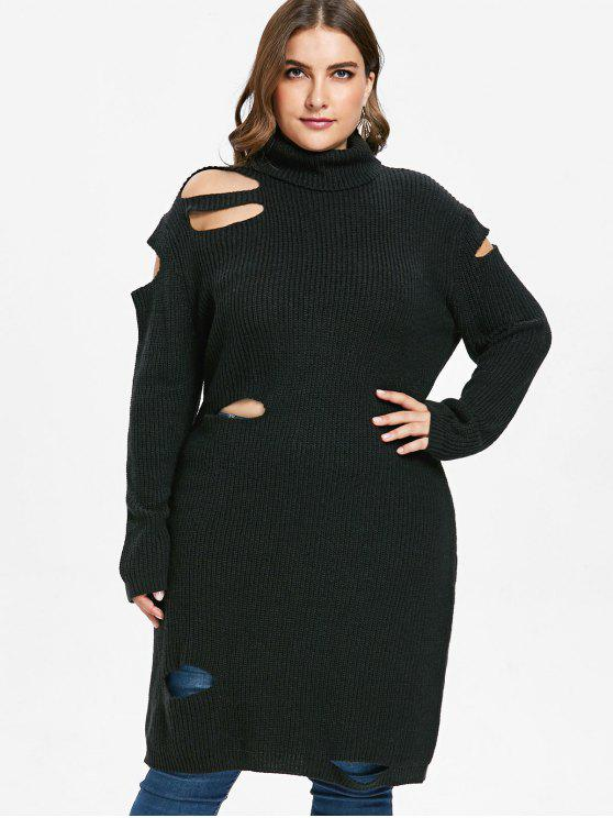 women ZAFUL Plus Size Cut Out Turtleneck Sweater - BLACK 1X