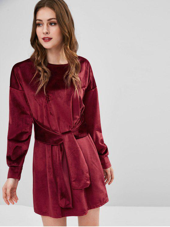 shop Velvet Long Sleeve Tied Shift Dress - RED WINE M