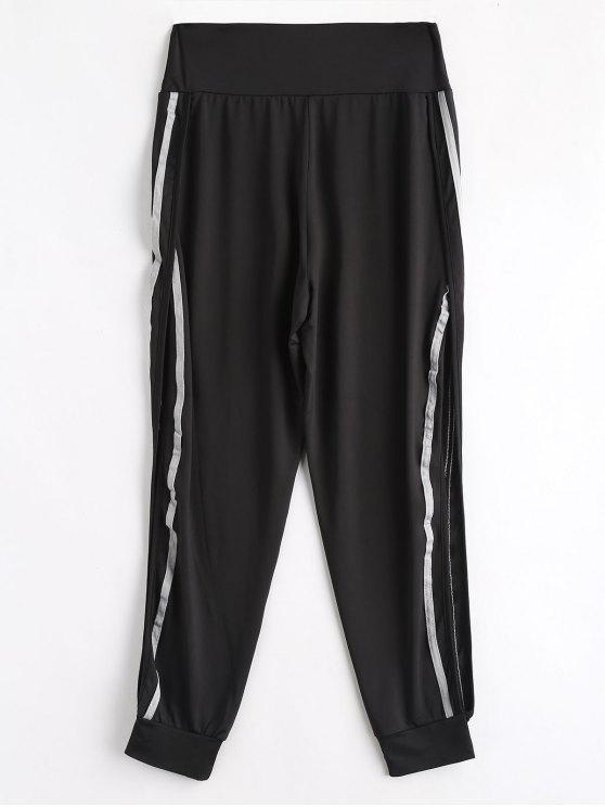 shops High Slit Striped Patched Pants - BLACK S
