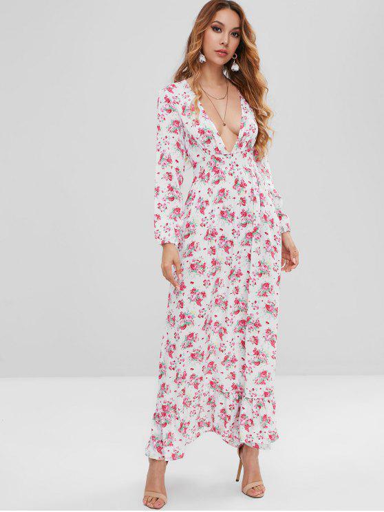 Vestido largo con volantes y flores - Blanco XL