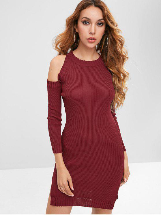 sale Cold Shoulder Ribbed Knit Dress - RED WINE ONE SIZE