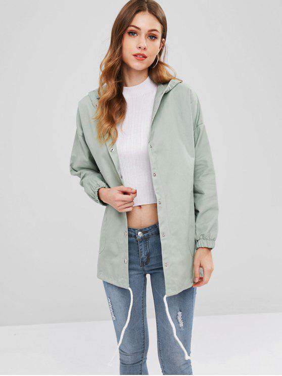 ladies Drawstring Tunic Hooded Coat - DARK SEA GREEN M