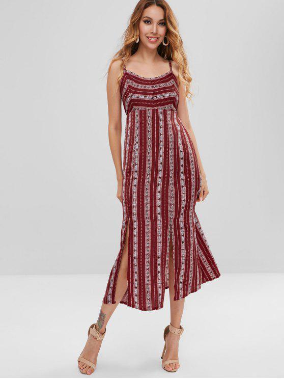 women Graphic Cami Slit Midi Dress - RED WINE M