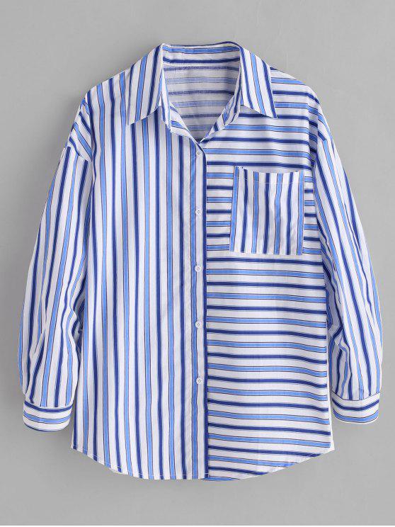best Striped Graphic Boyfriend Shirt - MULTI S