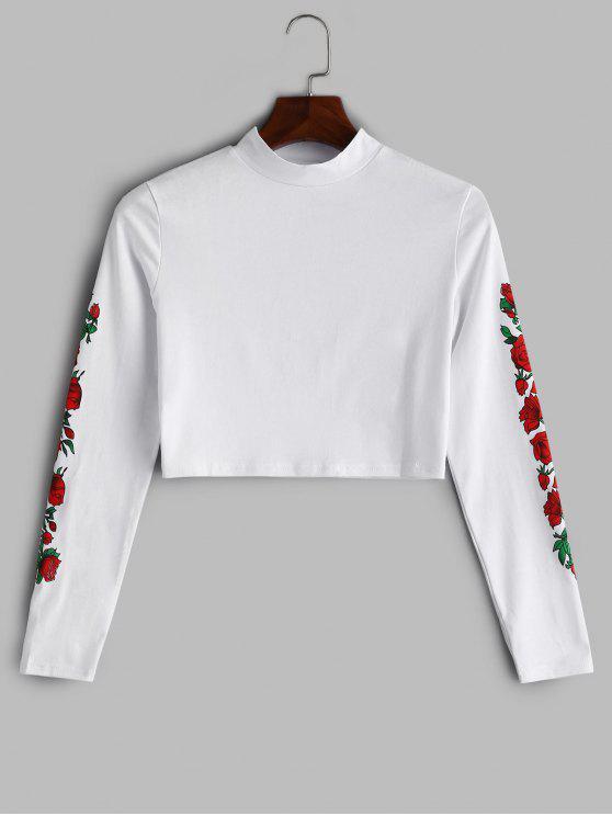 Camiseta con estampado de rosas recortadas - Blanco Talla única