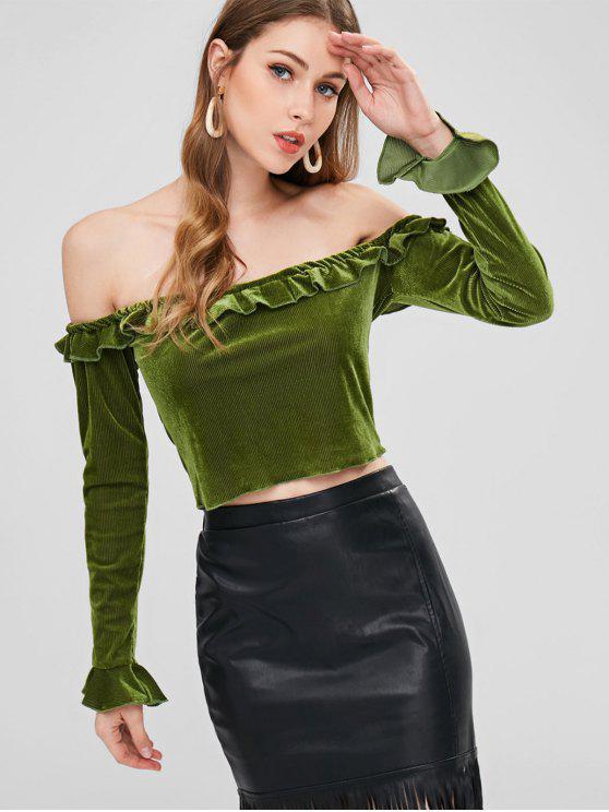 5f5bbf891d 55% OFF  2019 Frilled Velvet Off The Shoulder Top In VENOM GREEN