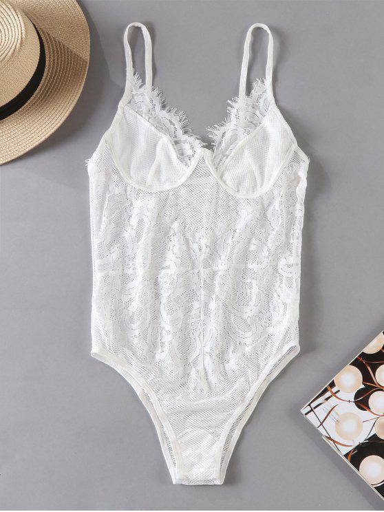 women's Sheer Fishnet Lace Lingerie Teddy Bodysuit - WHITE S