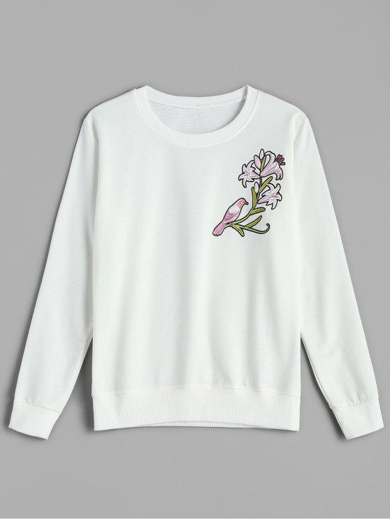 ladies Floral Pullover Sweatshirt - WHITE 2XL