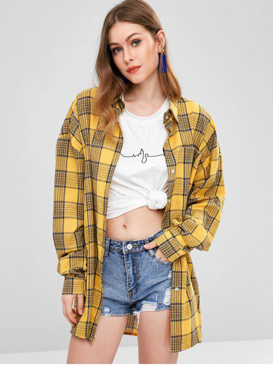best Long Sleeve Checked Oversized Shirt Dress - MULTI ONE SIZE