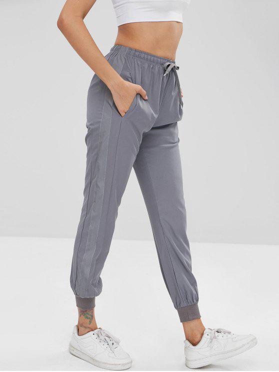 lady Striped Side Drawstring Jogger Pants - DARK GRAY M