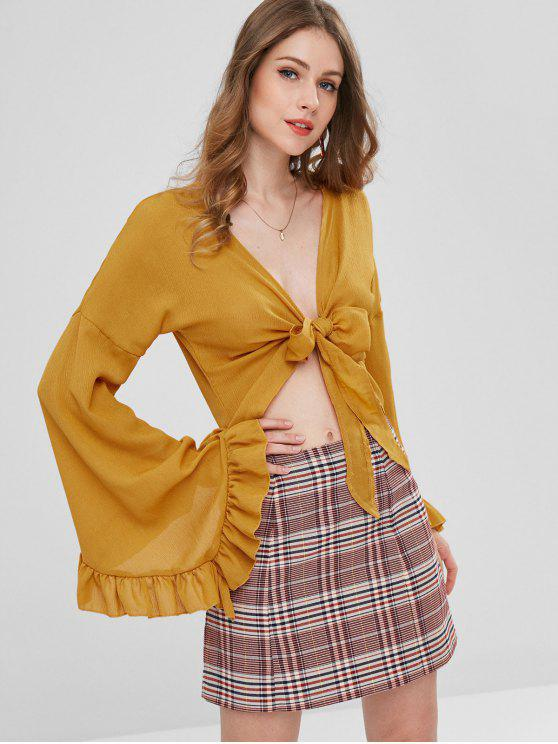 fashion Flare Sleeves Tie Front Blouse - ORANGE GOLD M