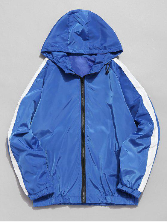shop Striped Contrast Waterproof Zip Jacket - BLUE M