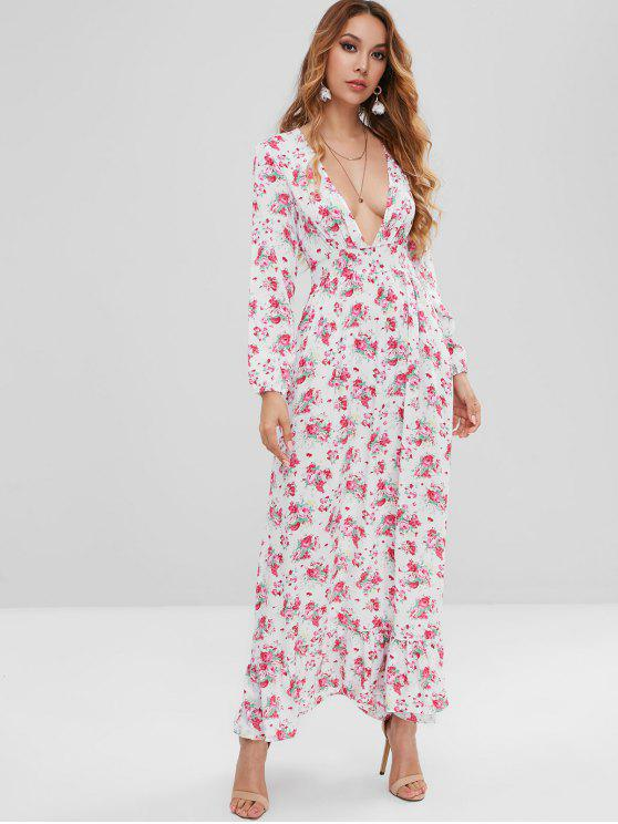 29 Off 2019 Flower Plunging Ruffle Maxi Dress In White L Zaful
