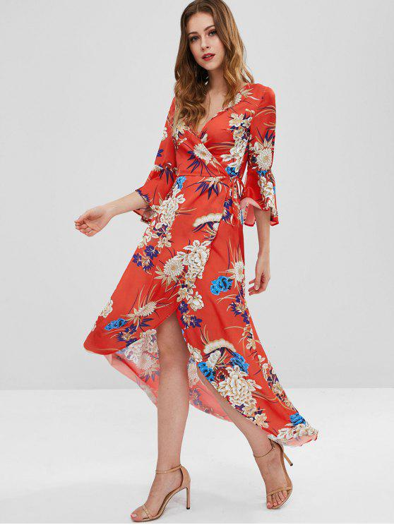 womens Flare Sleeves Floral Wrap Dress - RED S