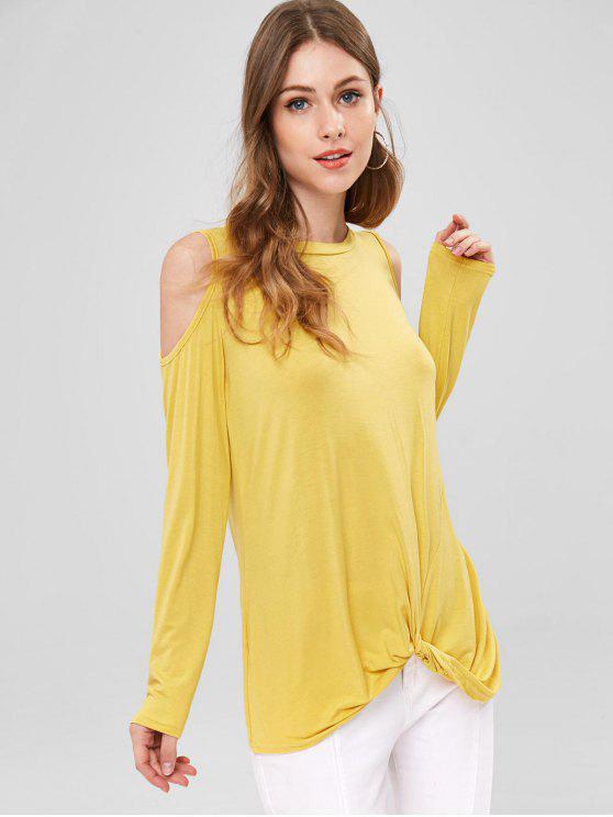 Torção ombro frio túnica - Milho Amarelo M