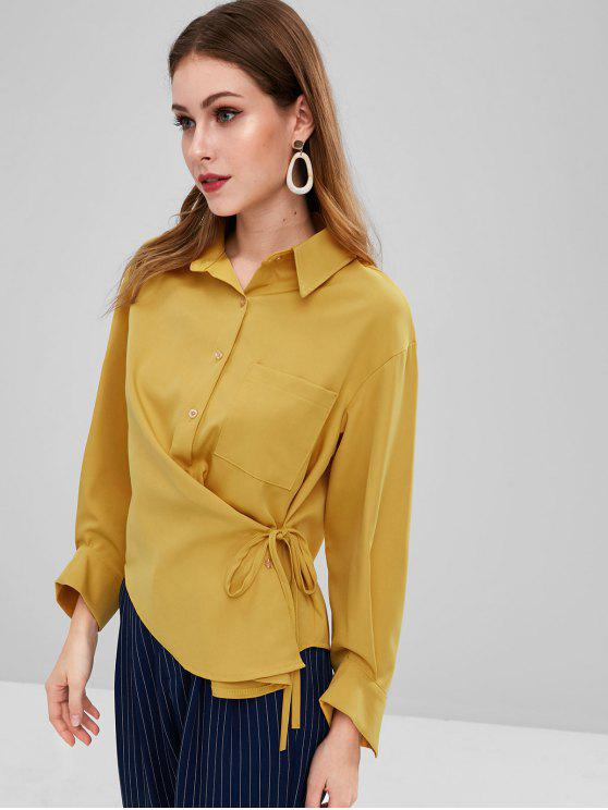 trendy Drop Shoulder Pocket Tie Side Shirt - GOLDEN BROWN ONE SIZE