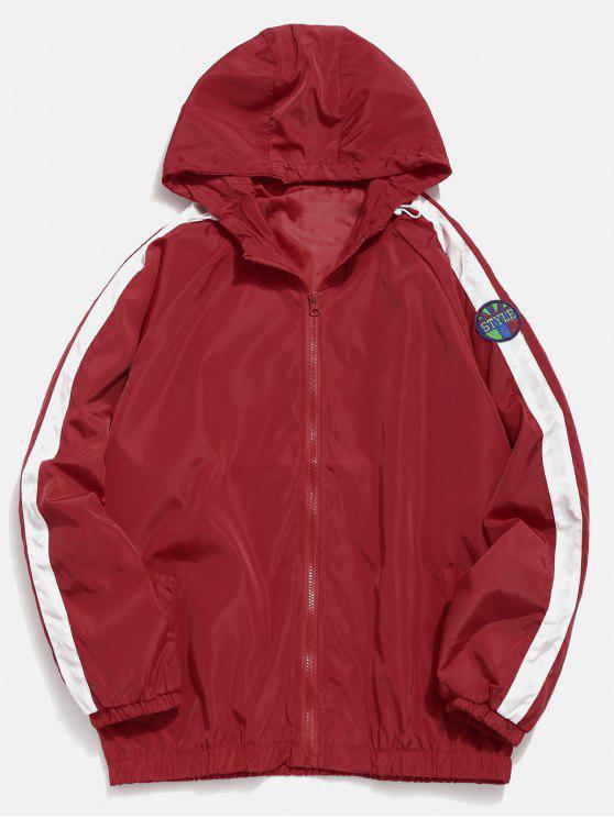 chic Applique Striped Lightweight Jacket - RED XL