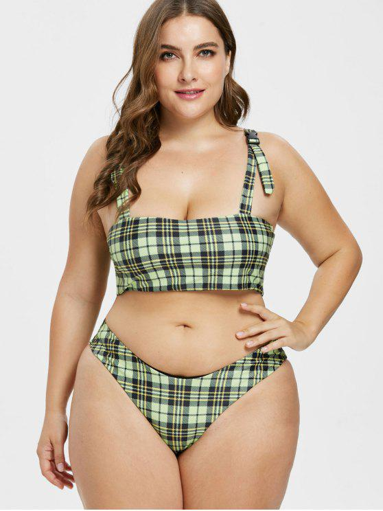 636bd76dcd 23% OFF] 2019 ZAFUL Plus Size Plaid Buckle High Leg Bikini Set In ...