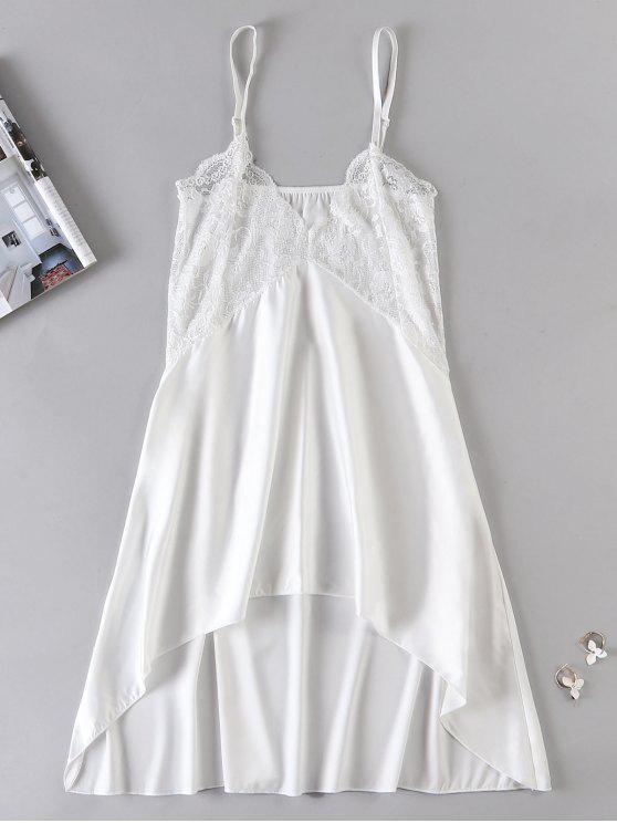 Sheer Lace Panel Chemise Vestido Lingerie - Branco XL