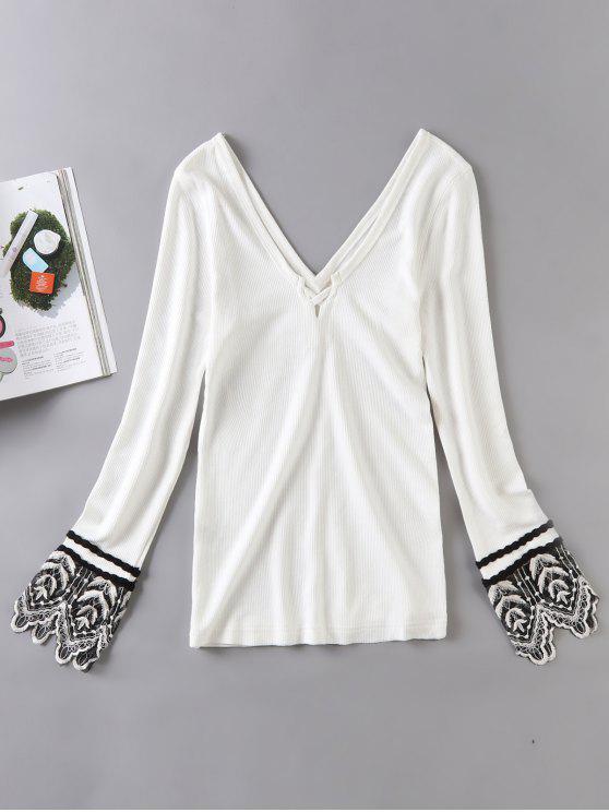 Manga comprida Lace Trim Ribbed Knit Top - Branco S