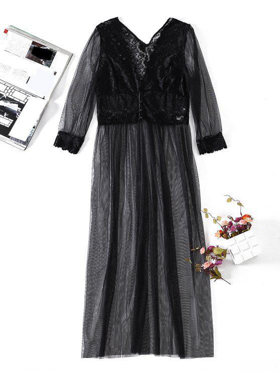Bata de lencería de encaje transparente - Negro M